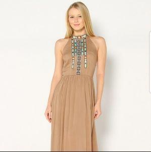 Boho taupe maxi dress